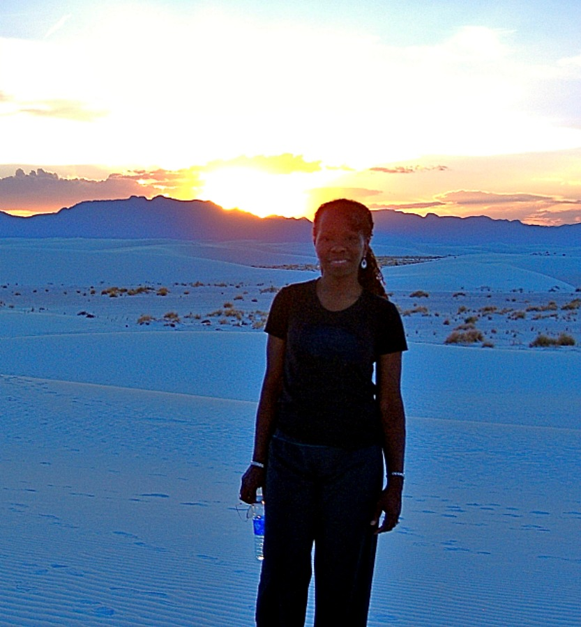 Me (Melodie K), at White Sands National Monument in Southern New Mexico.