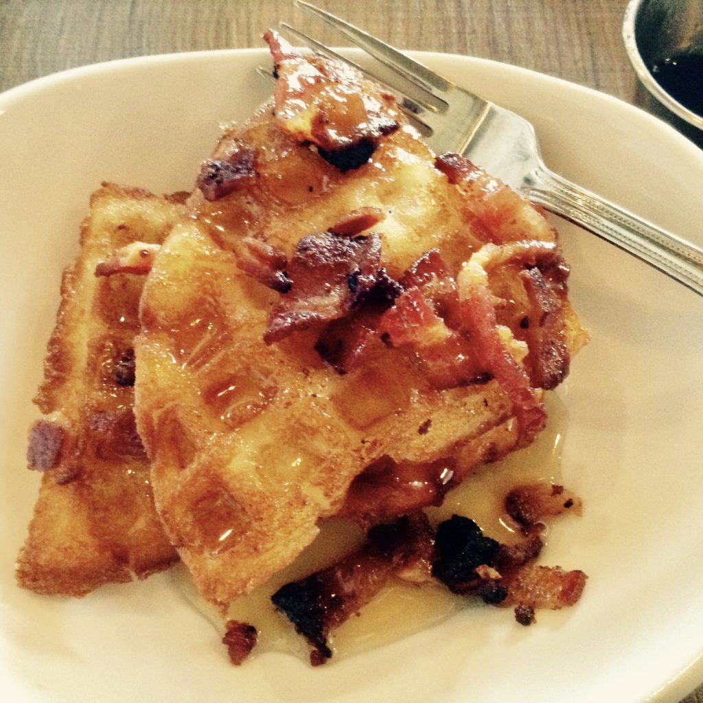 Chicken & Waffles with BACON! and maple syrup is on the menu at Salud! de Mesilla, a new Southern New Mexico restaurant.