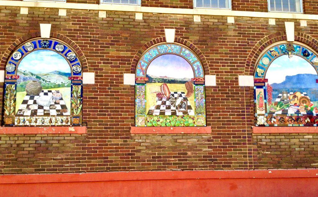 Window murals, street art in Silver City, NM.