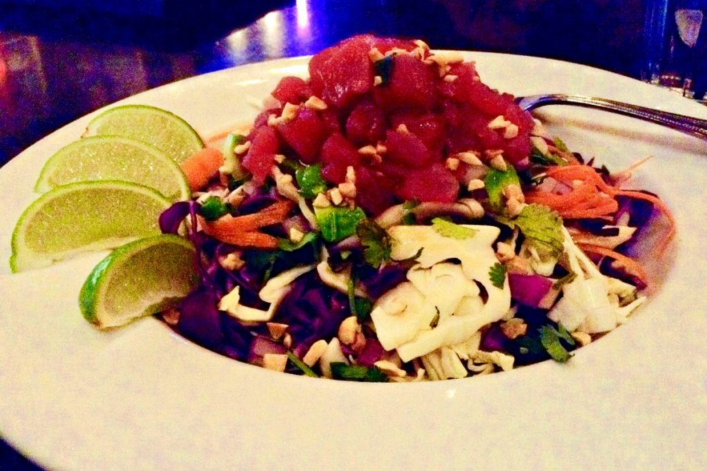 Ahi Poke Salad New Mexico style at the Pecan Grill ~ a delicious taste of Hawaii in Las Cruces.