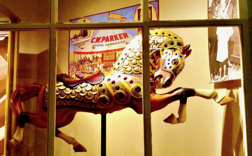 Bejeweled vintage carousel horse, Hubbard Museum of the American West, Ruidoso Downs, NM.
