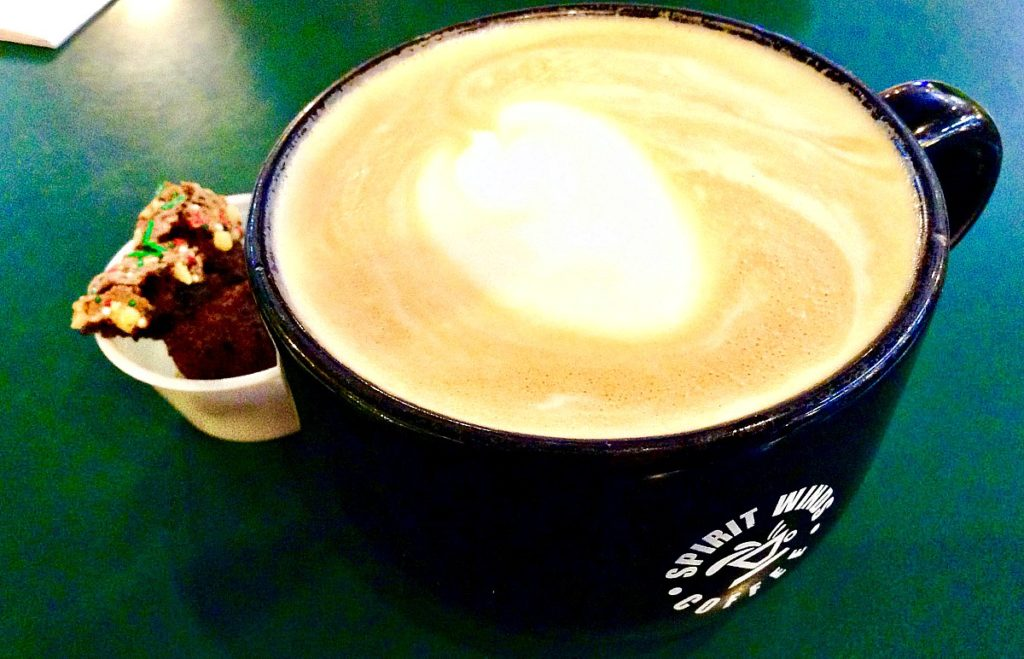 A white chocolate-macadamia nut latte available at Spirit Winds, the Las Cruces coffee bar for shoppers.