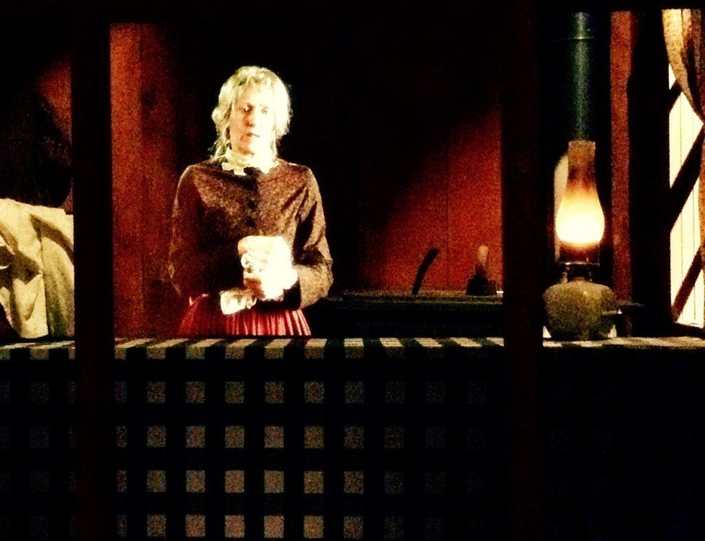 Hologram with actress playing Texas frontier maverick and survivor, Elizabeth Carter Clifton.