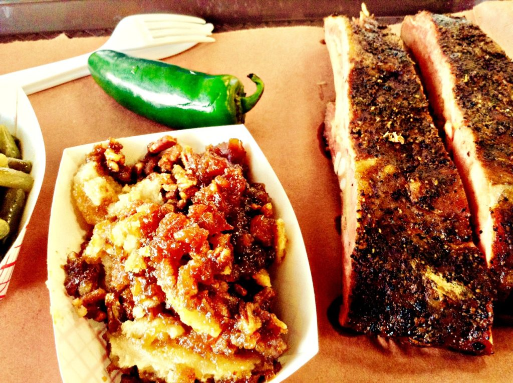 Pork ribs with 2 sides (green beans and pecan cobbler) in Abilene, once the heart of Texas frontier country.
