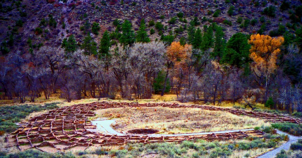 Pueblo Village site at Bandelier National Monument, NM ~ a New Mexico wilderness area; photo by Phillip Capper.