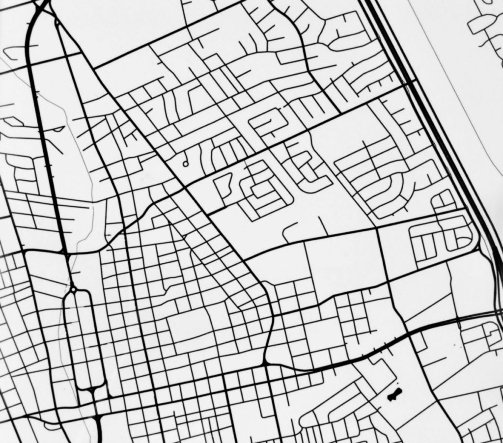 Close up of Las Cruces map by Modern Map art, featuring downtown, the historic district to the east of it, and a portion of the I-25.