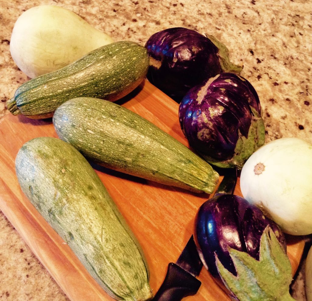 Preparing veggies bought from the Farm Fresh truck in the Mesilla Valley of New Mexico.