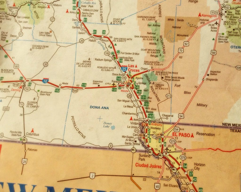 The New Mexico map published by AAA, is one of several New Mexico road trip essentials. This view shows a portion of the state's southern borderlands.