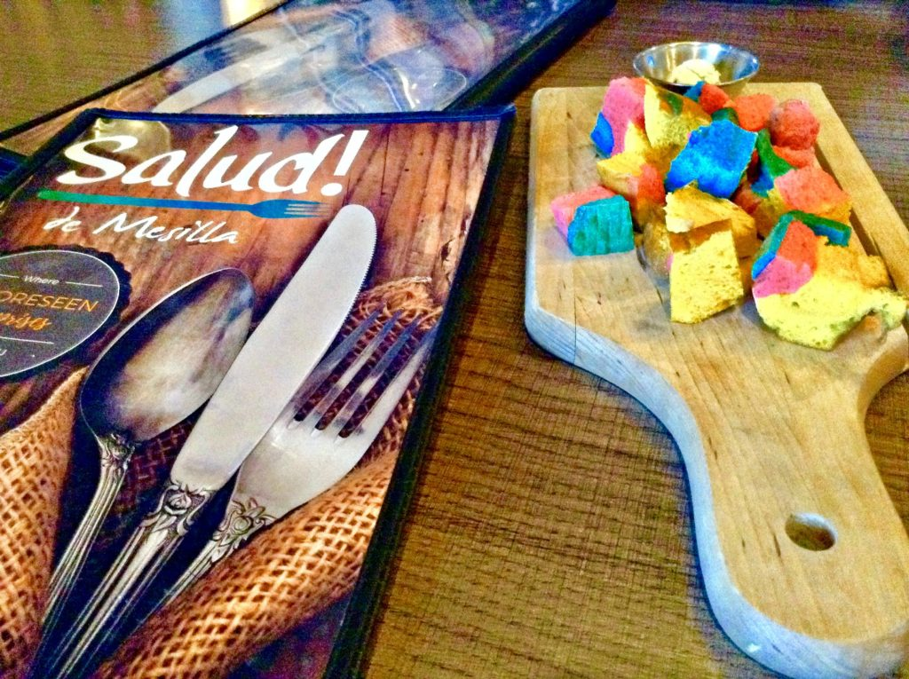The Salud de Mesilla Paleo Lunch, like all the restaurant's meals, is preceded by rainbow bread.