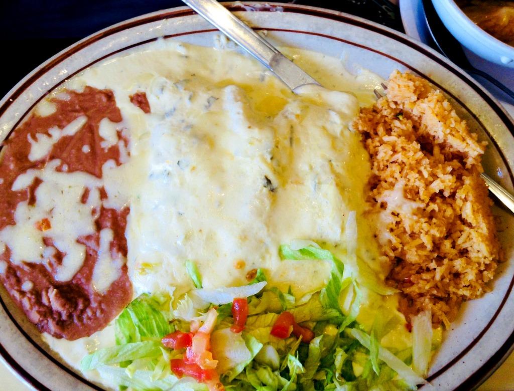 The enchiladas suizas plate at Delicias Restaurant in Las Cruces.
