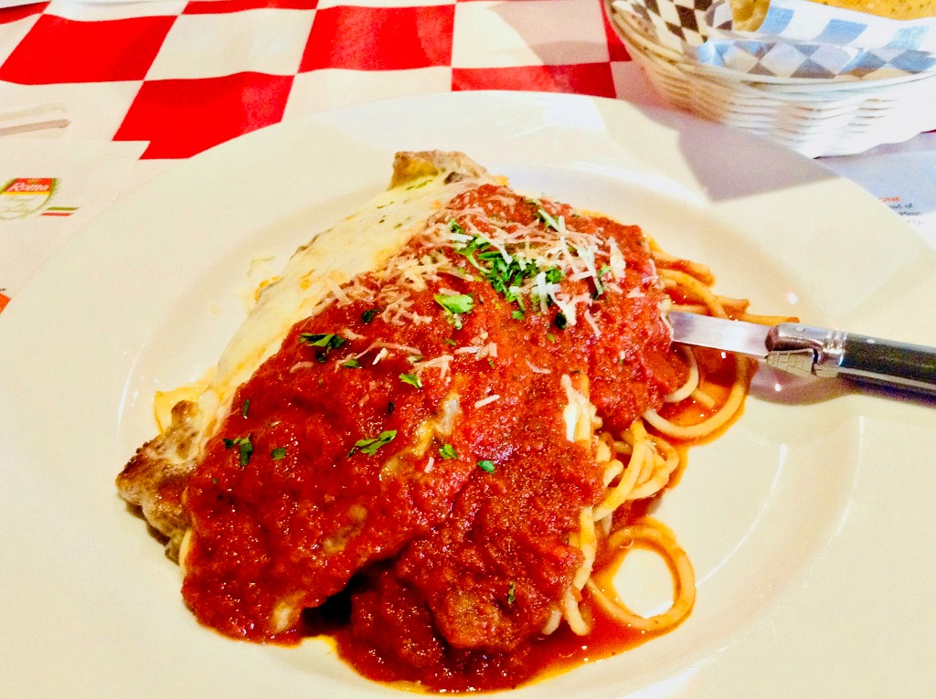 Hungry for generous flavor and portions? The veal parmigiana at Forghedaboudit, the New York Italian style restaurant in Deming, New Mexico can't be beat.