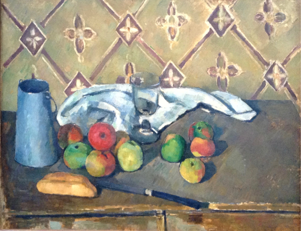 "This Cézanne painting, ""Fruit, Napkin, and a Jug of Milk,"" helps to illustrate one of the artist's food quotes: ""With an apple, I will astonish Paris."""