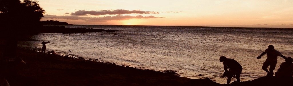 Big Island, Hawaii beach at sunset.
